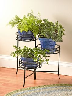 "Nesting Triple Pot Stand- 3 9"" dia. platforms 29.95/ 20 1/2"" H"