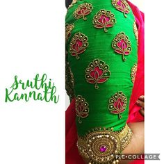 Beautiful parrot green color designer blouse sleeve with floral design hand embroidery bead and thread work. Cutwork Blouse Designs, Wedding Saree Blouse Designs, Pattu Saree Blouse Designs, Simple Blouse Designs, Hand Embroidery Designs, Embroidery Blouses, Blouse Simple, Wedding Blouses, Hand Work Blouse Design