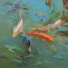 833 Koi and Turtle by Chuck Larivey Oil ~ 30 x 30