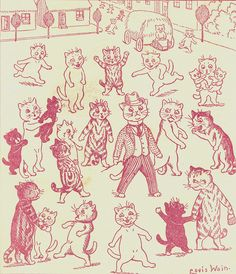 Louis Wain illustration of cats Louis Wain Cats, Cat Drawing, Drawing Ideas, Vintage Cat, I Love Cats, Cat Art, Photos, Pictures, Illustration Art