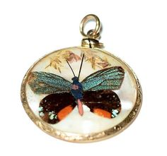 Victorian G F Genuine Butterfly & Moth on Mother of Pearl Double-sided Pendant #Pendant