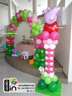 Decoración con globos de Peppa Pig Barbie Birthday Party, Pig Birthday, 3rd Birthday Parties, Fourth Birthday, Birthday Celebration, Party Decoration, Balloon Decorations, Balloon Ideas, Baloon Decor