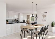 © STOMEO Visualisierungen - Zürich | www.stomeo.ch Modern, Dining Room, Table, Furniture, Home Decor, Inner Child, Architecture Visualization, Apartment Kitchen, Real Estates
