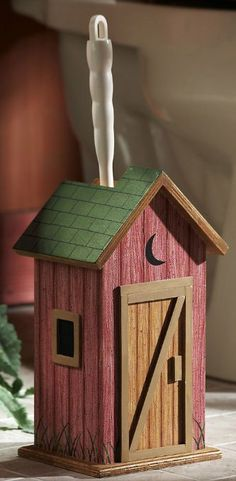 Amazon.com - Collections Etc - Country Wooden Outhouse Toilet Brush Holder - Toothbrush Holders