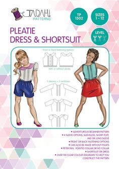 PATTERN Pleatie Dress & Shortsuit  PDF Sewing Pattern  by TadahPatterns | Etsy