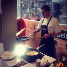 Flipping pancakes for out Pancake Tuesday demo at #VisitBelfast Welcome Centre with chef Brian from James Street South Restaurant