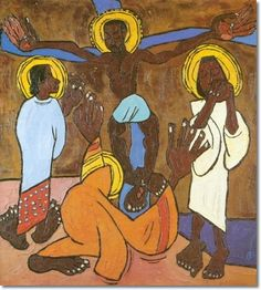 Ethnic African American Art Painting - Reproduction Print - William Johnson - Jesus and the Three Marys - 1935