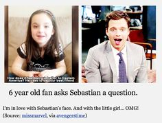 How adorable!! I love how this little girl really is a Marvel fan and just look at Sebastian's face!!!!!!!