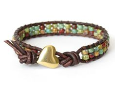 Hipster leather wrap bracelet in earthy fall colors, artisan handmade heart button, jewelry gift idea on Etsy, $25.36