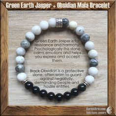 BANISH THE NEGATIVE: Jasper + Obsidian Yoga Mala Bead Bracelet