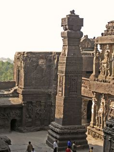 Ellora Caves - Stone carved pillar at Kailash temple
