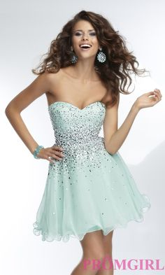 Strapless Short Beaded Prom Dress | Beaded prom dress, Prom ...