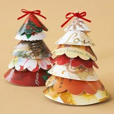 These freestanding paper Christmas trees add colorful, country charm to your Christmas decor. Cut various size circles out of Christmas cards, scalloping the edges of some. From the center of each circle cut out a 3/16-inch pie-shaped wedge. Curl the circle into a cone shape (pattern side up), overlap the ends, and tape the back. To make the base, cut a 2-inch foam ball in half and a 1/8-inch dowel to desired height. Place the foam ball flat side down, add a drop of hot glue to an end of the…