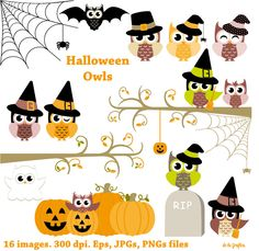 Halloween Owls. Happy Halloween by Delagrafica on Creative Market