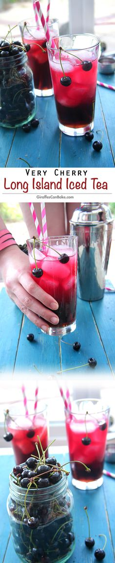 Very Cherry Long Island Iced Tea - The classic, top shelf cocktail with a new cherry twist! This delicious favourite is quick and easy to make, with fresh cherries, perfect for entertaining this summer