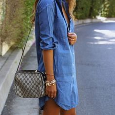 """Chambray shirt dress Velvet Heart soft denim shirtdress. Approx. 33""""L from shoulder to hem. Spread collar; split neckline. Half sleeves can be tabbed. Side slip pockets. Relaxed silhouette. Box-pleat at back yoke. Shirttail hem. Tencel® lyocell; machine wash. Cover pic via sincerlyjules, for styling purposes only.  No trades. All sales final. Velvet Heart Dresses"""