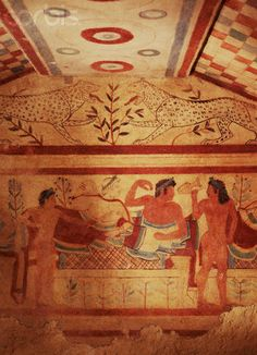 "INTERIOR ""BANQUETERS AND MUSICIANS"" Tomb of the Leopards from Tarquinia 480-470BCE"