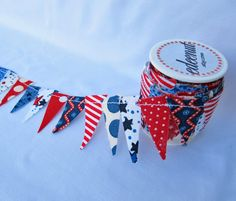Patriotic Cake Bunting. Red White Blue fabric mini Ribbon. 4th of July cake topper.