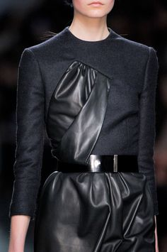 Leather & wool dress with gathered panel insert; juxtaposed fashion details // Christian Dior