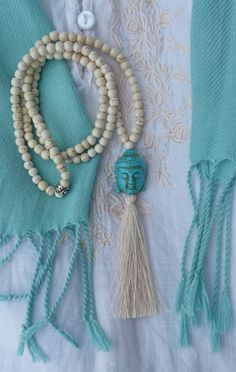beachcomber beaded buddha tassel necklace - white howlite turquoise buddha long necklace - yoga by the sea