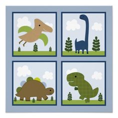 Adorable Dinosaur Wall Art Poster  Click on photo to purchase. Check out all current coupon offers and save! http://www.zazzle.com/coupons?rf=238785193994622463&tc=pin