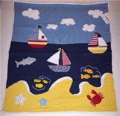 Artwalk Baby Blanket Knit Sailboat Nautical Ocean Beach Boys Blue