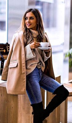 #winter #outfits  brown zip-up jacket