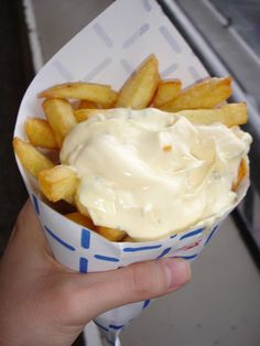 Frites with mayo! It's the way I like my fries and one of the best street foods in Amsterdam!