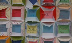 Root Words Project. Fold square paper so corners go in the middle-- have students write the root in the big square in the middle, then words that use the roots on the flap. Then, they can decorate the closed flaps. Display them all on the bulletin board like a quilt-- talk about the patchwork of language.