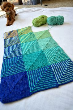 Hue Shift Blanket  Do something similar with granny squares? One color each row & column