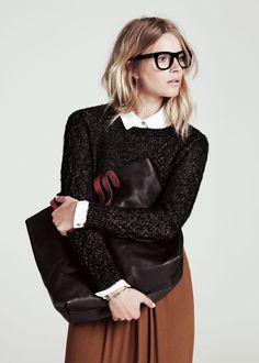 glasses, sweater
