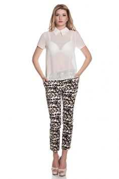 Pantalon din bumbac cu imprimeu leopard