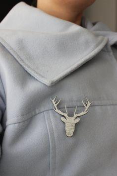deer brooch by CutOutsProductDesign on Etsy Laser Cut Jewelry, Laser Cutting, Brooch, Diy Stuff, Deer, Diy Projects, Etsy, Jewellery, Beautiful