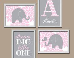 Pink Gray Nursery Wall Art CANVAS or Prints Girl by TRMdesign