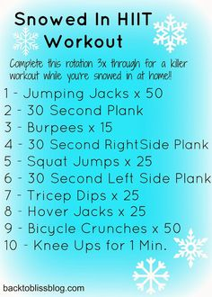 High intensity workout to do indoors on snow days! No equipment needed!