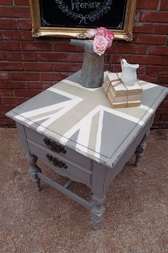 How to Make a Table Taller, Brush Strokes, and a Union Jack End Table - Shades of Blue Interiors Union Jack, Little Britain, Boutique Decor, Make A Table, Coffee And End Tables, Chalk Paint Furniture, Neutral Palette, Inspired Homes, Furniture Makeover