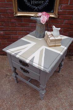 Gray Neutral Palette Union Jack End Table by ShadesOfBlueShop, $95.00