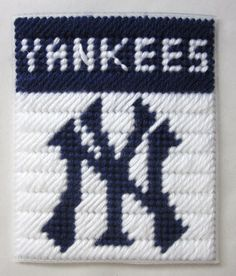 New York Yankees tissue box cover in plastic canvas PATTERN ONLY. $2.00, via Etsy.