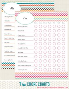 Pinch A Little Save-A-Lot: Free Printable: Kids Chore Charts These are great! They are made so that you can type right onto the PDF and personalize it when you download.