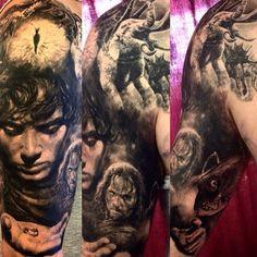 Lord of the rings sleeve in progress :) #ellenwestholm #tattoo #ink #inked #sleeve #lordoftherings #lotr #frodo #gollum #aragon #inkmachines #dragonflytattoomachine #redrosetattoo #