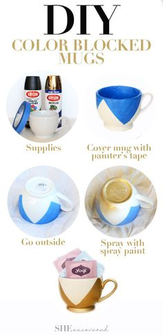 DIY Color Blocked Mugs - an easy DIY gift for the holidays that doesn't break the bank