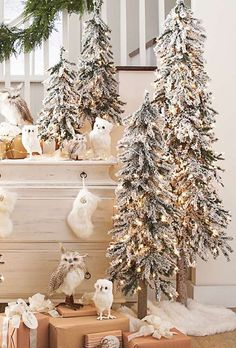 Create a festive winter display in your home with the Set of Three Pre-lit Alpine Trees that feature realistic snow-covered branches that add instant charm to your home.