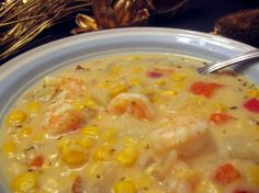 Seafood Corn Chowder from Food.com: This makes a big pot of thick seafood chowder, you almost need a fork to eat it! You can find crab and shrimp combo in the refrigerator section near the seafood - you could sub 1 can crab meat and 1 can baby shrimp if you can't locate the crab/shrimp combo.