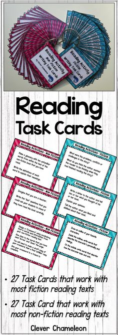 Reading Activity Cards for Fiction and Non-fiction texts by Clever Chameleon TPT.