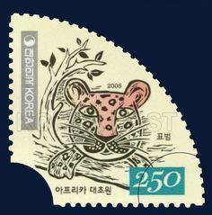African Savanna Special Stamp, Leopard, Animals, Seagrass, Ivory, 2008 03 26, 아프리카 대초원 특별우표, 2008년03월26일, 2605, 표범, postage 우표