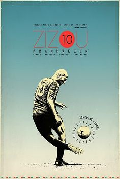 Retro Soccer Player Posters Zidane