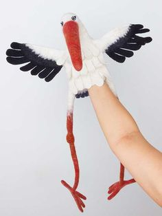 Items similar to the stork hand puppet, wet felted, MADE TO ORDER on Etsy Glove Puppets, Felt Puppets, Puppets For Kids, Felt Finger Puppets, Needle Felted Animals, Felt Animals, Wet Felting, Needle Felting, Animal Hand Puppets