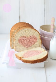 Valentines Bread Loaf-What a cute idea! I think I will make sandwiches with this for my husband on Valentines Day. I hope his coworkers will go easy on the comments. I found the recipe here- http://www.larecetadelafelicidad.com/en/2013/02/valentines-bread-loaf.html beet juice is used for the color! There are other choices to use for color also.