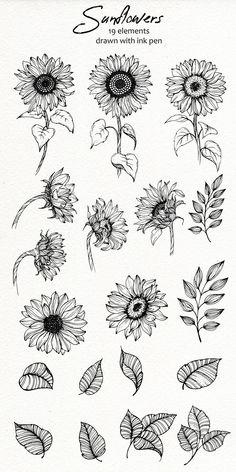 Sunflower Drawing, Sunflower Tattoos, Sunflower Tattoo Design, Sunflower Tattoo Simple, Cute Tattoos, Body Art Tattoos, Small Tattoos, Tatoos, Tattoo Avant Bras
