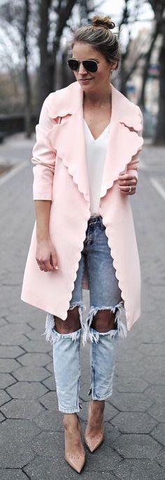 #spring #fashion  Pink Coat
